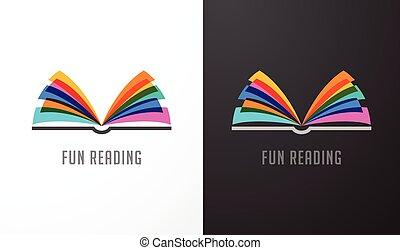 concept, kleurrijke, -, opleiding, boek, creativiteit, leren, open, pictogram