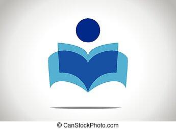 concept, kleurrijke, studerend , roman, symbool., illustratie, of, persoon, literatuur, menselijk, lezende , opengeslagen boek, man
