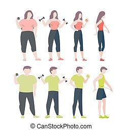 concept., kobieta, tłusty człowiek, otyłość, atak