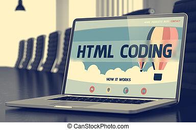 concept., kodierung, landung, seite, html, 3d., laptop