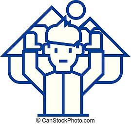 concept., kreska, wektor, podróż, decyzja, symbol, płaski, ikona, znak, człowiek, szkic, ostateczny, illustration.