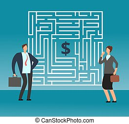 concept, krijgen, denken, geld., verward, zakenman, hoe, vector, teamwork, bergpas, doolhof, carrière, uit