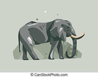 concept, kunst, achtergrond, collage, abstract, moderne, palm, pastel, vrijstaand, tropische , kleur, dier, elefant, illustraties, getrokken, natuur, hand, safari, spotprent, kaart, grafisch, bladeren, vector, afrikaan