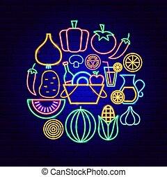 concept, légumes, néon