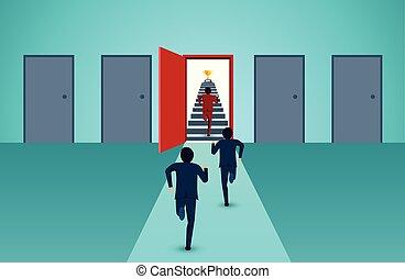 concept., lépcsőfok, karikatúra, piros, vezetés, pénzel, jár, startup., vektor, kreatív, siker elpirul, ügy, businessmen, futás, goal., ajtó, idea., verseny, feláll, ábra