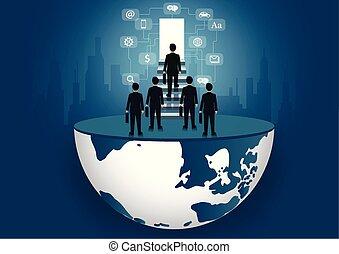 concept., létra, lépcsőfok, előrehalad, lábnyom, a legmagasabb, pénzel, door., jár, élet, vektor, siker, icon., organization., ügy, businessmen, gól, világ, job., feláll, ábra