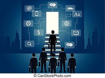 concept., létra, lépcsőfok, előrehalad, lábnyom, a legmagasabb, pénzel, door., jár, élet, vektor, siker, icon., organization., ügy, businessmen, gól, job., feláll, ábra
