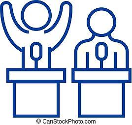 concept., línea, vector, conferencia, símbolo, fuerza, plano, icono, señal, contorno, debates, persuasión, illustration.