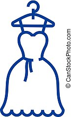 concept., línea, vector, vestido, símbolo, plano, icono, pelota, señal, boda, contorno, bata, illustration.