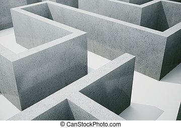 concept, labyrinthe, résoudre, illustration, cocrete, complexe, problème, 3d