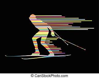 concept, land, kruis, vector, achtergrond, skien