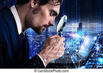 concept, laptop., analyse, verre, regarde, logiciel, magnifier, homme