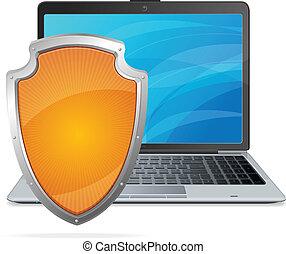 concept., laptop, bezpieczeństwo, tarcza, antivirus