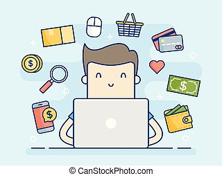concept, laptop., homme, email
