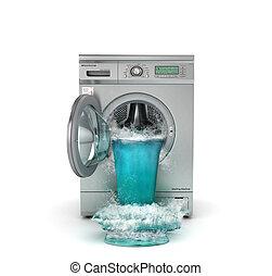 concept, lavage, machine., suit, illustration, washing., ...