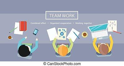 concept., lavoro, riunione, squadra affari
