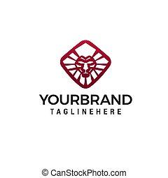 concept, leeuw, vector, ontwerp, mal, logo, geometrisch