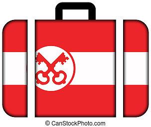 concept, leiden., voyage, drapeau, valise, icône, transport
