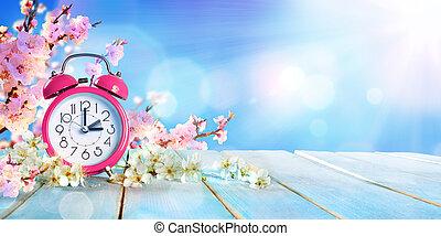 concept, lente, -, spaarduiten, daglicht, tijd, voorwaarts