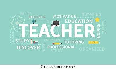 concept, leraar, illustration.