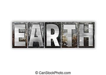 concept, letterpress, metaal, vrijstaand, aarde, type