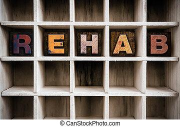 concept, letterpress, rehab, bois, tiroir, type