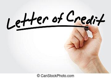 concept, lettre, business, crédit
