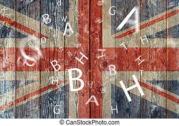 concept, lettres, langue, drapeau britannique, apprentissage...