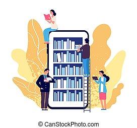 concept, lezende , bibliotheek, smartphone, opleiding, vector, lezer, winkel, plat, mensen, online, books., library., app., boek