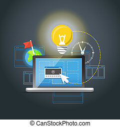 concept, licht, draagbare computer, moderne, bulb., ...