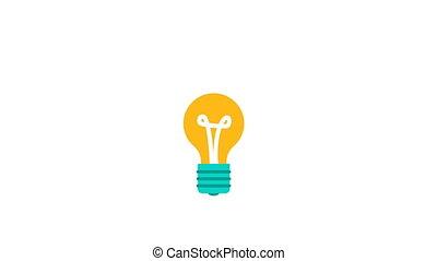 concept, licht, idee, 2d animatie, bol, nieuw