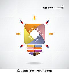 concept, licht, idee, creatief, achtergrond, bol