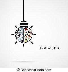 concept, licht, idee, creatief, hersenen, bol