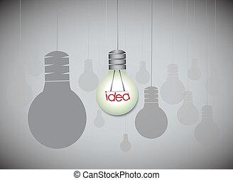 concept, licht, -, idee, hangend, bol