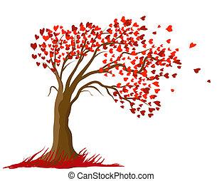 concept, liefde, illustration., boompje, vector, ontwerp, kaart, romantische