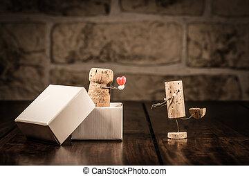 concept, liefde, kurk, figuren, kado, wijntje