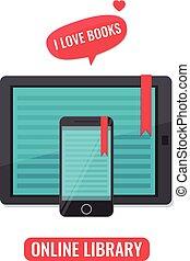 concept, liefde, tablet, smartphone, boekjes , reader., computer, boek