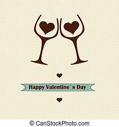 concept, liefde, valentines, ontwerp, retro, dag, wijntje
