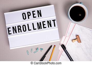 concept., lightbox, ouvert, blanc, enrollment, bureau, gris