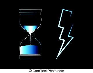 concept, lightning, vector, bout, tijd, snelheid, hourglass