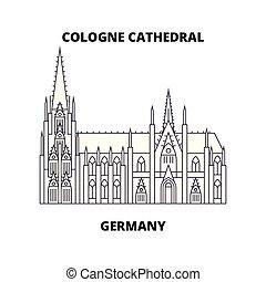 concept., ligne, allemagne, vecteur, cathédrale, symbole, cologne, icône, signe, linéaire, illustration.