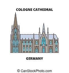 concept., ligne, allemagne, vecteur, cathédrale, symbole, cologne, plat, icône, signe, illustration.