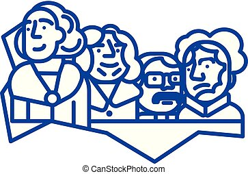 concept., ligne, présidents, vecteur, monter, symbole, usa, ...