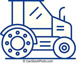 concept., ligne, tracteur, vecteur, ferme, symbole, plat, icône, signe, contour, illustration.