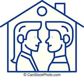 concept., ligne, vecteur, maison, symbole, plat, icône, signe, contour, illustration., deux
