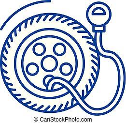 concept., ligne, vecteur, pression, symbole, service, pneu plat, icône, signe, contour, illustration., pompe