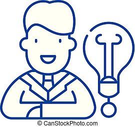 concept., ligne, vecteur, symbole, idée, nouveau, plat, icône, signe, contour, business, illustration.