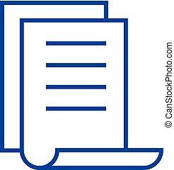 concept., ligne, vecteur, symbole, plat, icône, signe, fichier, liste, contour, calendrier, illustration.