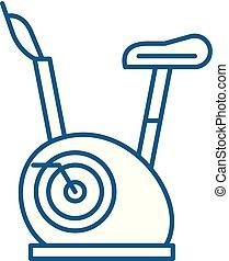 concept., ligne, vecteur, symbole, vélos, plat, icône, signe, contour, exercice, illustration.
