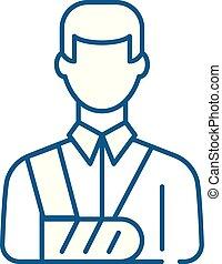 concept., lijn, verbonden, vector, symbool, plat, pictogram, meldingsbord, man, schets, illustration.
